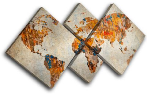 Grunge World Atlas Maps Flags - 13-0539(00B)-MP19-LO